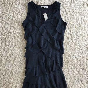 Loft Blue Ruffle Dress. Size 10p NWT